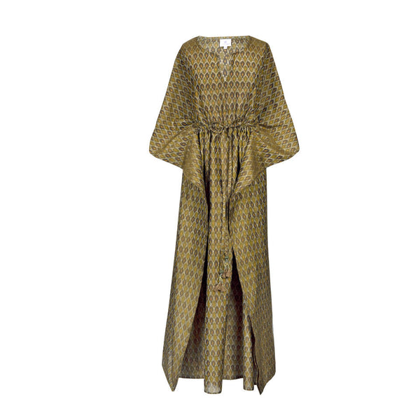 Apulia Silk/Cotton Ikat Maki Kaftan Dress ONLY TWO AVAILABLE