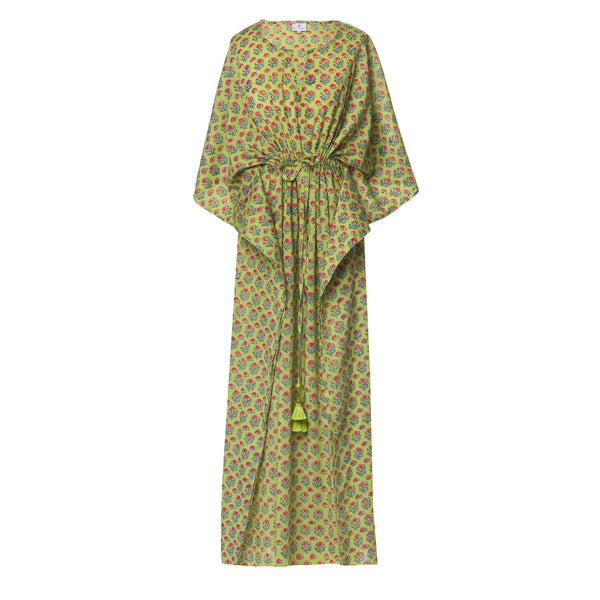 Jaipur Apple Green Floral Maxi Kaftan Dress