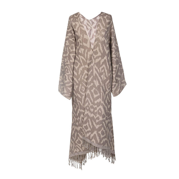 Cheryl Ikat Taupe Boiled Wool Kimono Coat SUPER SOFT