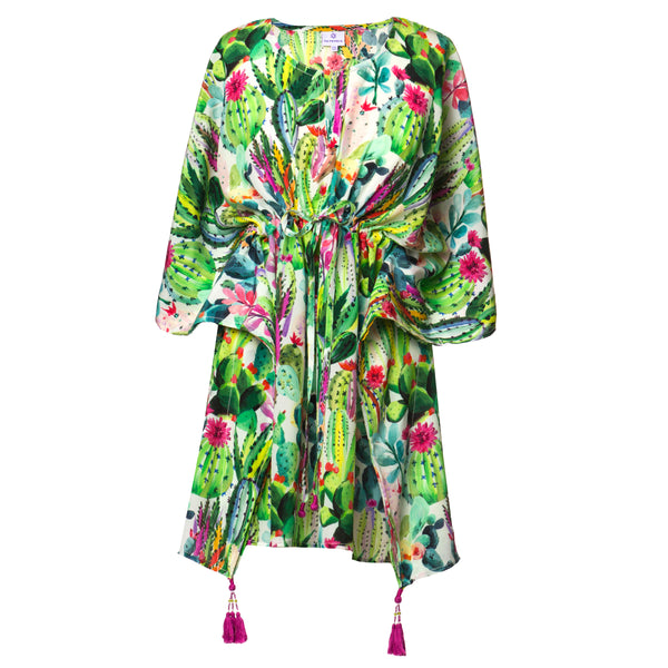 Primavera Italian Silk Short Kaftan Dress
