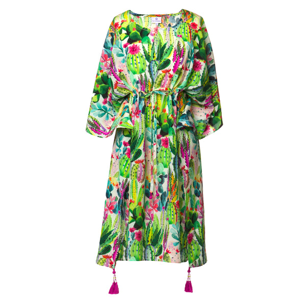 Primavera Italian Silk Midi Kaftan Dress
