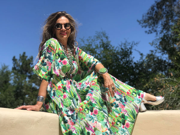 Primavera Italian Silk Maxi Kaftan Dress