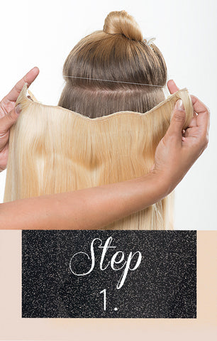Step 1 for halo hair extensions