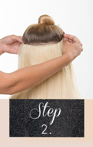 Step 2 for flip-in hair extensions