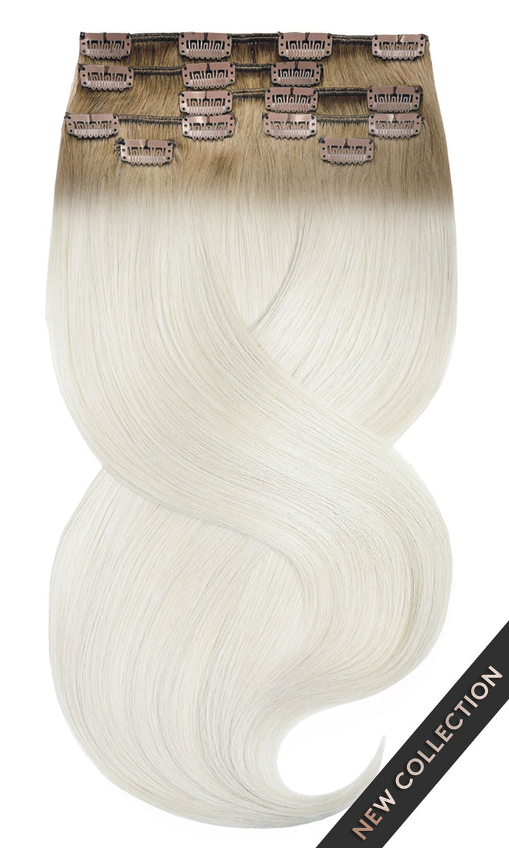 Ombre Honigblond & Silber Clip-in Hair Extensions