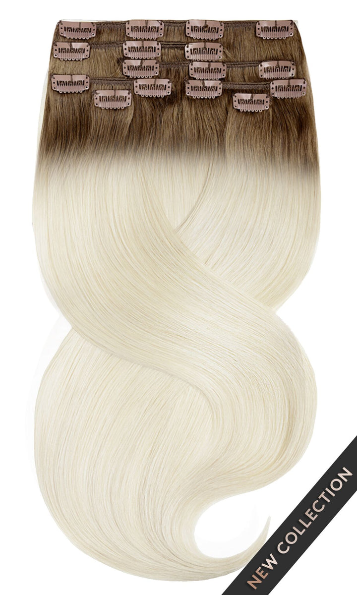 Natur-Goldbraun & Hellblond Clip-in Hair Extensions
