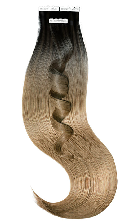 Tape in Extensions Sombre-Balayages, Schwarz & Cool Brown