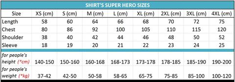 all size superhero shirts