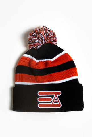 EA Logo Pom Pom Beanie: Black & Orange