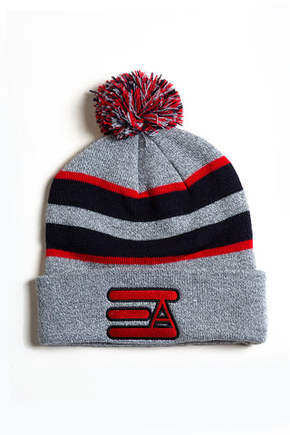 EA Logo Pom Pom Beanie: Heather Grey & Red