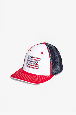 EA Logo 404M Flex Fit Hat: Red, White, & Blue American Flag