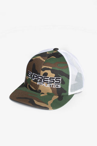 Express Logo 104C Snap Back Hat: Camo & White