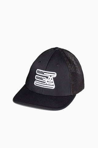 EA Logo 404M Flex Fit Hat: Black & White USA Flag