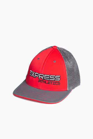 Express Logo 404M Flex Fit Hat: Red & Graphite