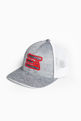 EA Logo 404M Flex Fit Hat: Heather Grey & White