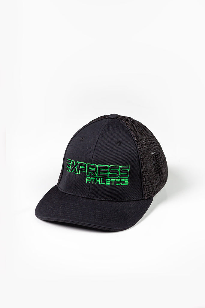 c741ee5019a45 Express Logo 404M Flex Fit Hat  Black   Neon Green – ExpressAthletics