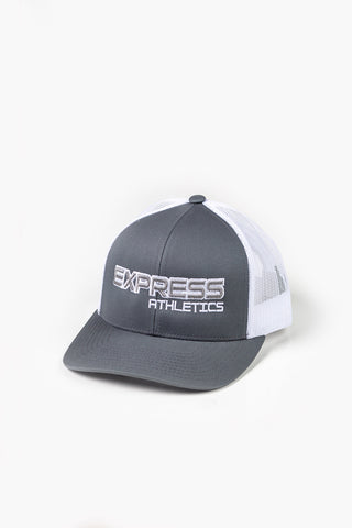 Express Logo 104C Snap Back Hat: Grey & White