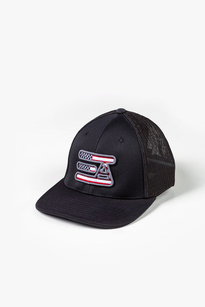 EA Logo 404M Flex Fit Hat: Black American Flag
