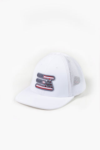 EA Logo 404M Flex Fit Hat: White American Flag