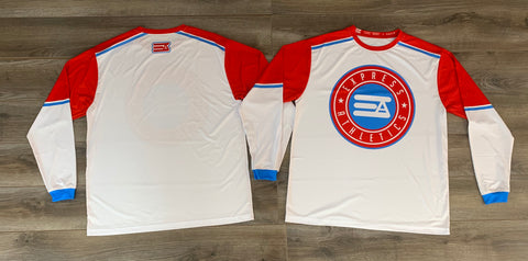 EA Circle Full Sub Long Sleeve Jersey: White/Red/Blue