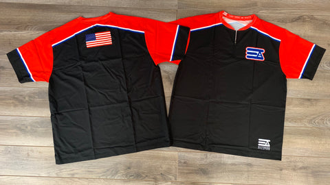 EA Short Sleeve 1/4 Zip BP Jacket: Black & Red