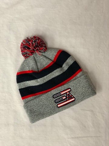 EA Logo Pom Pom Beanie: Heather Grey & Navy American Flag