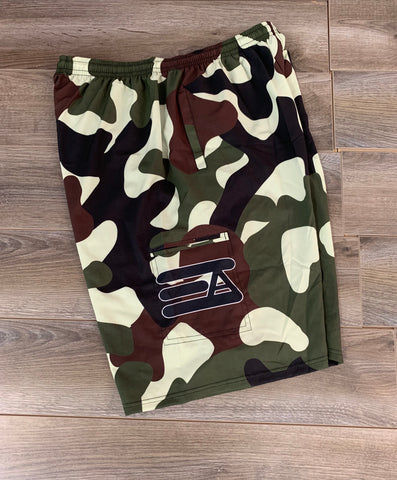 Express Athletics 4 Pocket Microfiber Shorts: Camo
