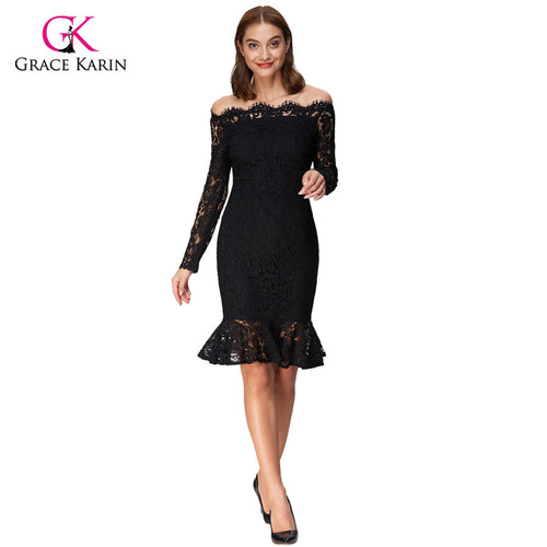 Grace Karin Short Evening Dresses 2018 Elegant Off Shoulder Midi Long Sleeve Vestidos Formal Wedding Party Lace Mermaid Dresses