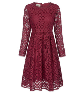 Grace Karin Short Evening Dress Prom Elegant Formal Gowns Long Sleeve Wine Red Lace Wedding Party Dresses Mother Dress Spring