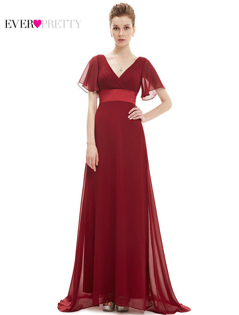 [Clearance Sale] Ever Pretty Women Elegant Long Evening Dresses Sexy Chiffon V Neck A Line Formal Party Evening Dress