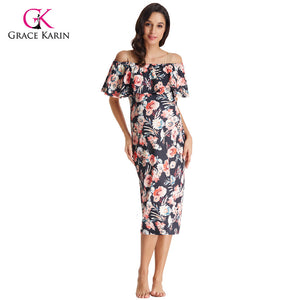 Grace Karin Short Evening Dress 2018 Strapless Bodycon Sheath Elegant Formal Maternity Gowns Floral Print Wedding Party Dresses