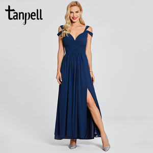 Tanpell split front evening dresses blue straps neck sleeveless floor length a line gown women pleats formal long evening dress