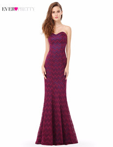 [Clearance Sale] Elegant Evening Dresses Ever Pretty EP08937 Strapless Mermaid Long Lace Evening Party Dress Valentine Day Gift
