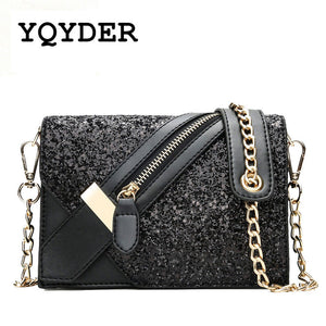 Brand Sequined Hand Bags Woman Zipper Messenger Bags Ladies Designer Fashion Luxury Chain Shoulder Bag Girl Crossbody Bags Sac