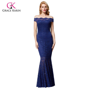 Grace Karin Women Formal Evening Dress Plus Size Blue Elegant Prom Lace Gown Off Shoulder Long Wedding Party Dress Mermaid 2018