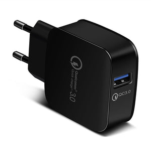 شاحن منزلي سريع  3.0 Fast Mobile Phone 18W Portable Wall Charger Adapter for Samsung Galaxy S8/S8+/S7/S6/Edge/Note 8