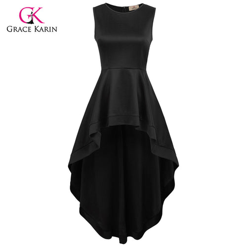 Grace Karin Black Formal Evening Dress High Low Elegant Wedding Party Gowns Prom Front Short Long Back Special Occasion Dresses