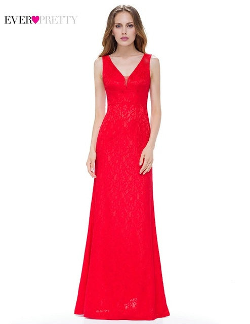 [Clearance Sale] Elegant Evening Dresses Ever Pretty EP08917 Bodycon Double V Neck Long Lace Evening Party Dresses Women 2018