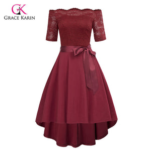 Grace Karin Off Shoulder Evening Dress Lace High Low Elegant Wedding Party Gowns Front Short Long Back Special Occasion Dresses