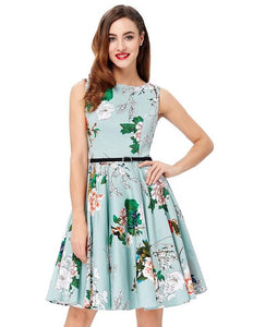 Grace Karin Short Evening Dress Plus Size Floral Print Vestidos Vintage Summer Robe Pin Up Swing Retro Wedding Party Dress Prom