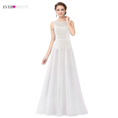 [Clearance Sale] Ever Pretty White Long Evening Dresses 2018 Made in China Appliques Fast Shipping Prom Gowns Vestido De Festa