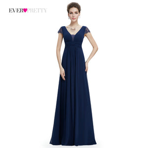 [Clearance sale] Ever Pretty Evening Dresses V-neck Navy Blue Lace  A-line Mother of the Bride Dresses Modest Party Dress 08787