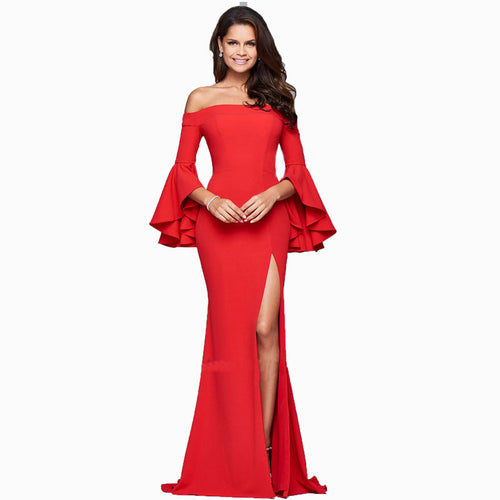 Vivian's Bridal 2018 Ruffle Sleeve High-end Women Evening Dress Sexy Solid Color Floor-length Side Slit Asymmetrical Prom Dress