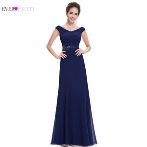 Ever Pretty Vintage Evening Dresses EP08642 Double V-Neck Sleeveless Navy Blue Long Chiffon Evening Formal Party Dresses Women