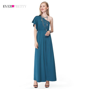 One Shoulder Evening Dresses Empire Tea-Length Ruffles Short Sleeve Ever Pretty EP07049TE New Arrival Women Elegant Evening Gown