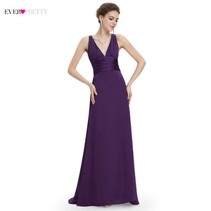 New Arrival Ever Pretty Dark Purple Evening Dress V-Veck Sexy Low-cut Elegant Chic Classic Party Dress Floor Length EP09008DP