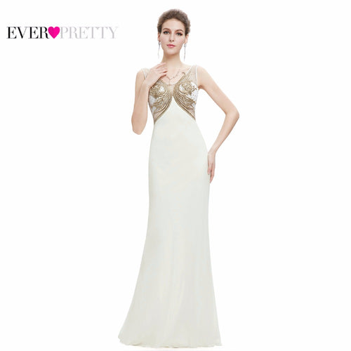 Sexy Cream Long Evening Dress 2018 Ever Pretty EP08745 Elegant V Neck Sleeveless Backless Embroidery Beaded Party Prom Gowns