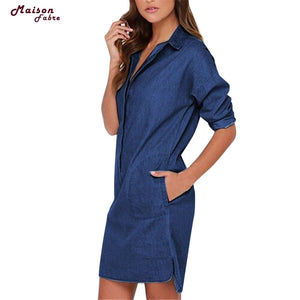 Maison Fabre Summer Dress Women Casual Lapel Blouse Ladies Long Sleeve Denim Jeans T Shirt Dress Girl Tops 2019