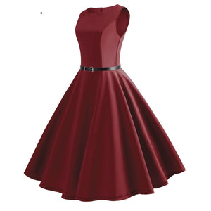 Summer Dress Women Vintage Sleeveless O Neck Evening Vintage Gown Party Prom Swing Sexy Dress Girl 2019