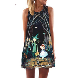 Women Loose Summer Dress Women Vintage Sleeveless 3D Floral Print Bohe Tank Short Mini Dress 2019